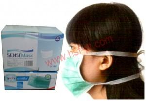 Tie On Mask / Masker Ikat Tali Hijau 50 Pcs / Box